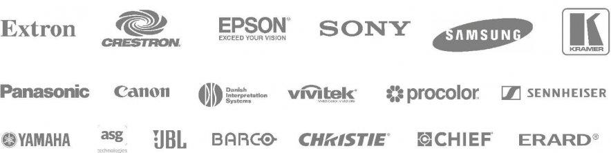 Logos des partenaires de Transelec, spécialistes des matériels audiovisuels